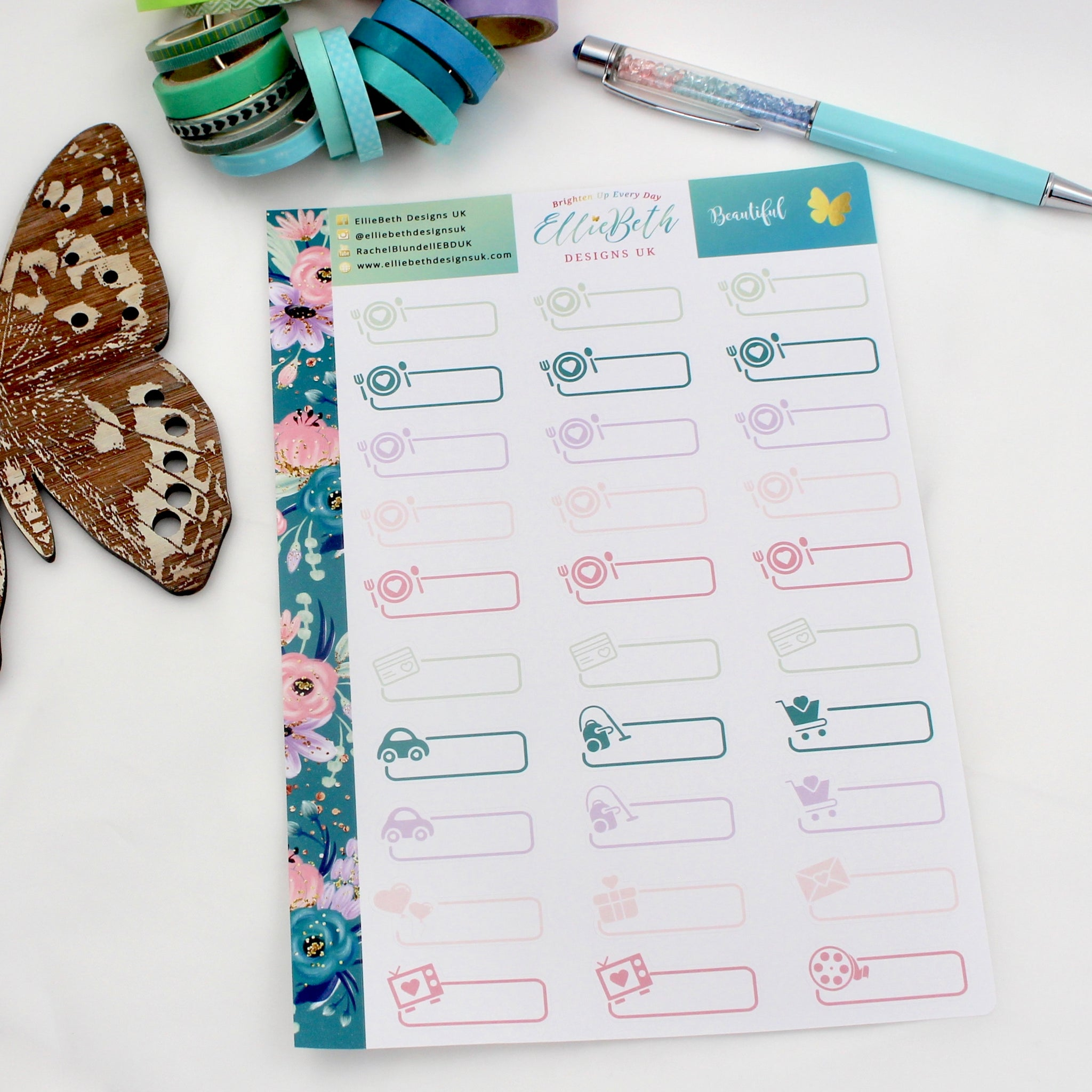 'Beautiful' - Day to Day Labels -  A5 binder ready planner stickers - EllieBeth Designs UK