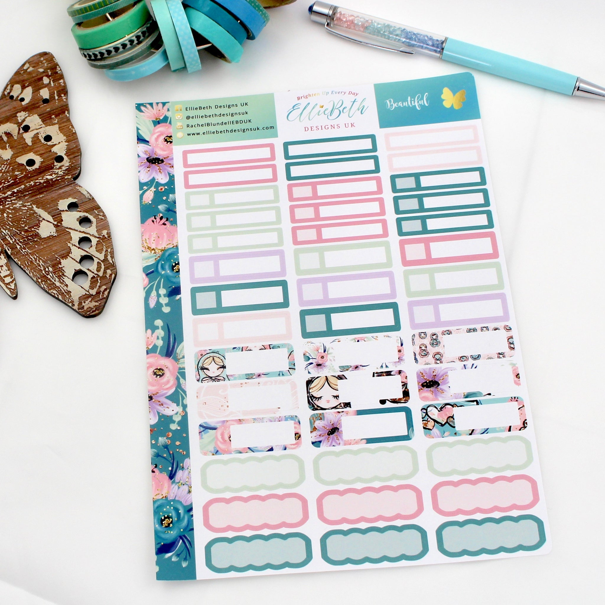 'Beautiful' - Mixed Event Labels -  A5 binder ready planner stickers
