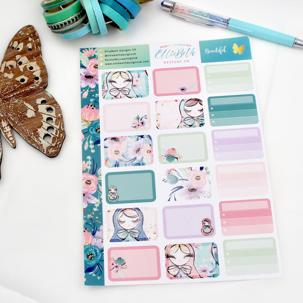 'Beautiful'  - Half Boxes -  A5 binder ready planner stickers