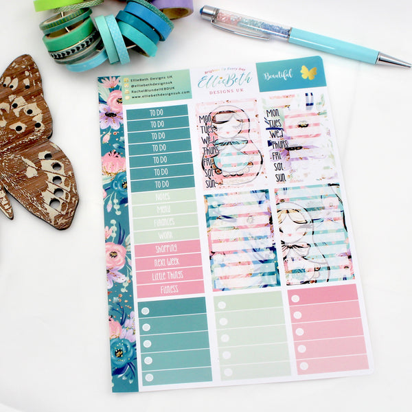 'Beautiful' - Make a List Sheet -  A5 binder ready planner stickers