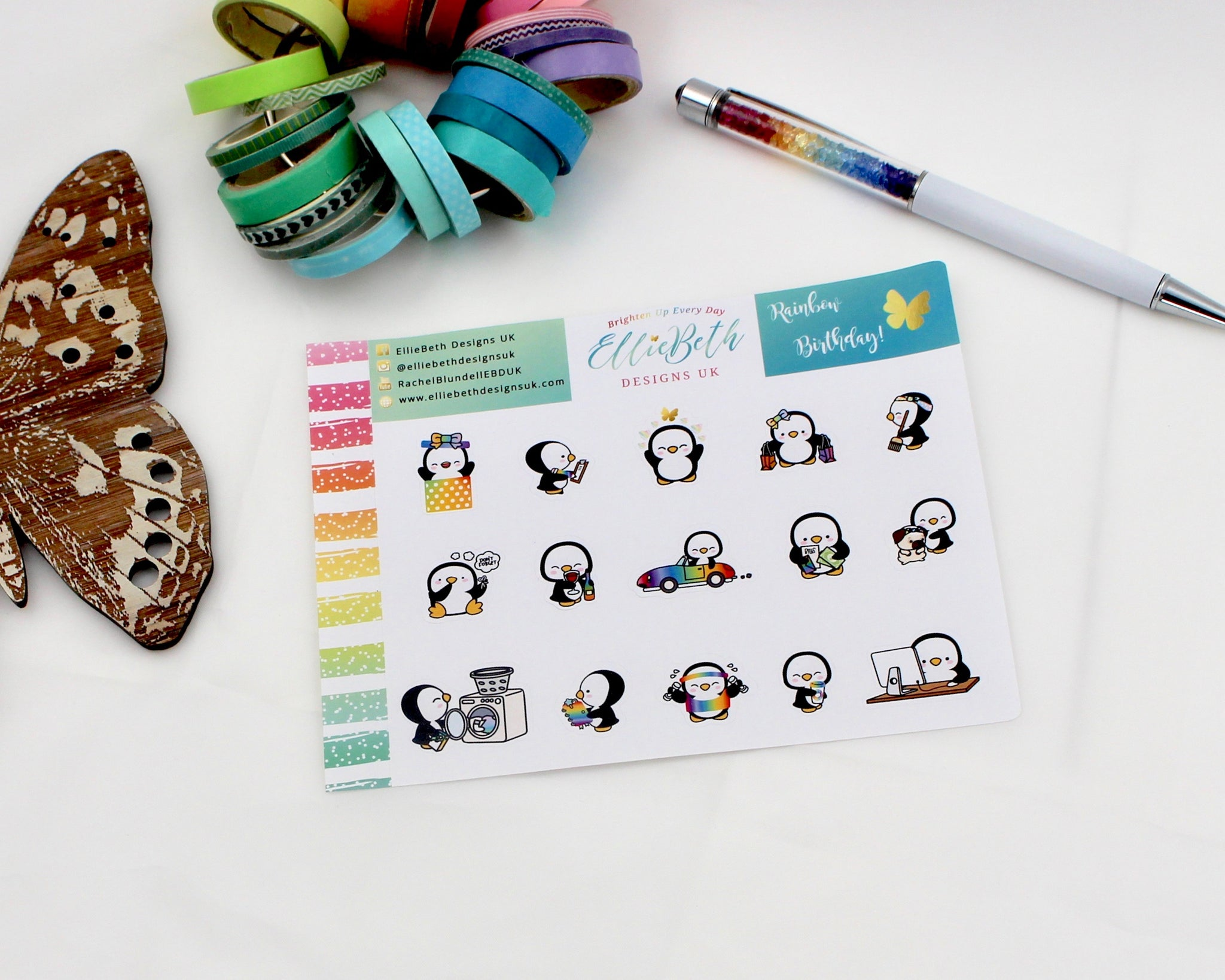 'Rainbow Birthday' - A Penguin For Every Occasion -  binder ready planner stickers