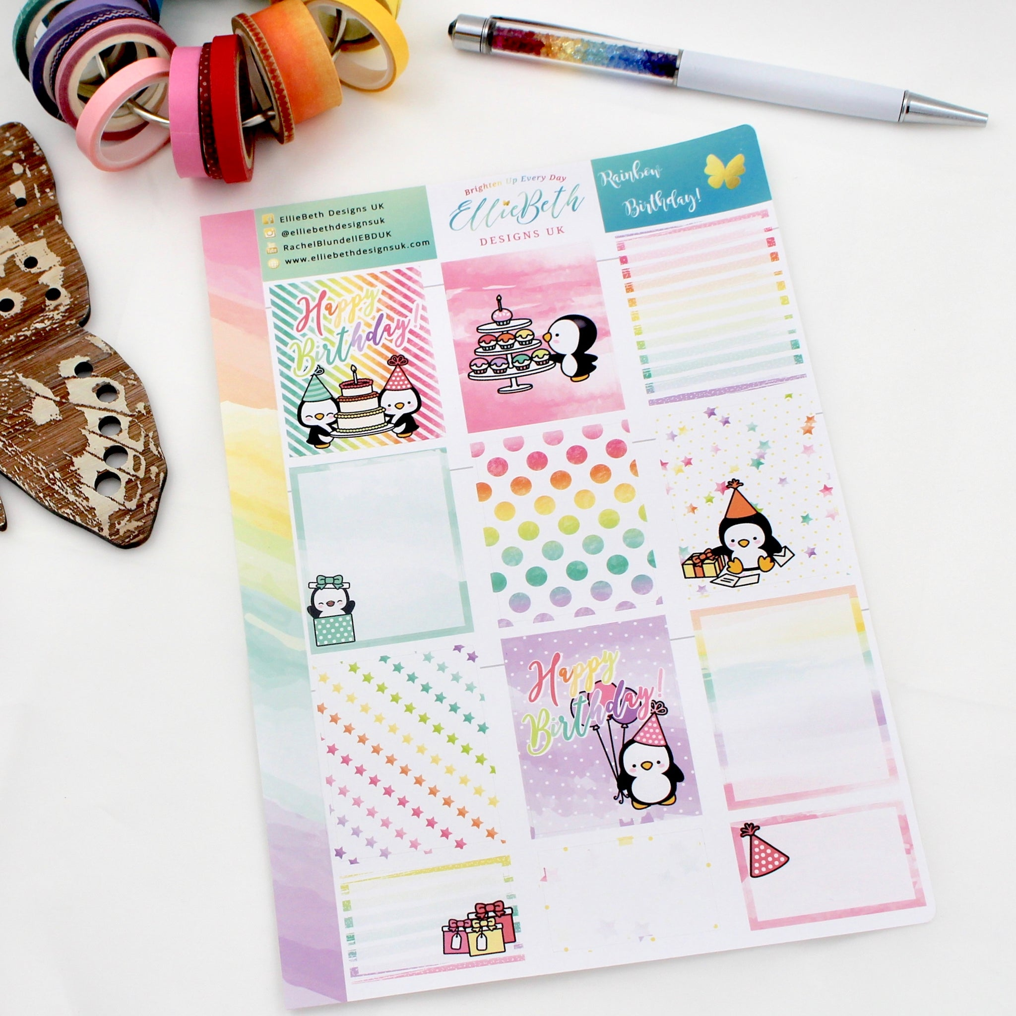 'Rainbow Birthday' - Designer Full and Half Boxes Sheet -  A5 binder ready planner stickers