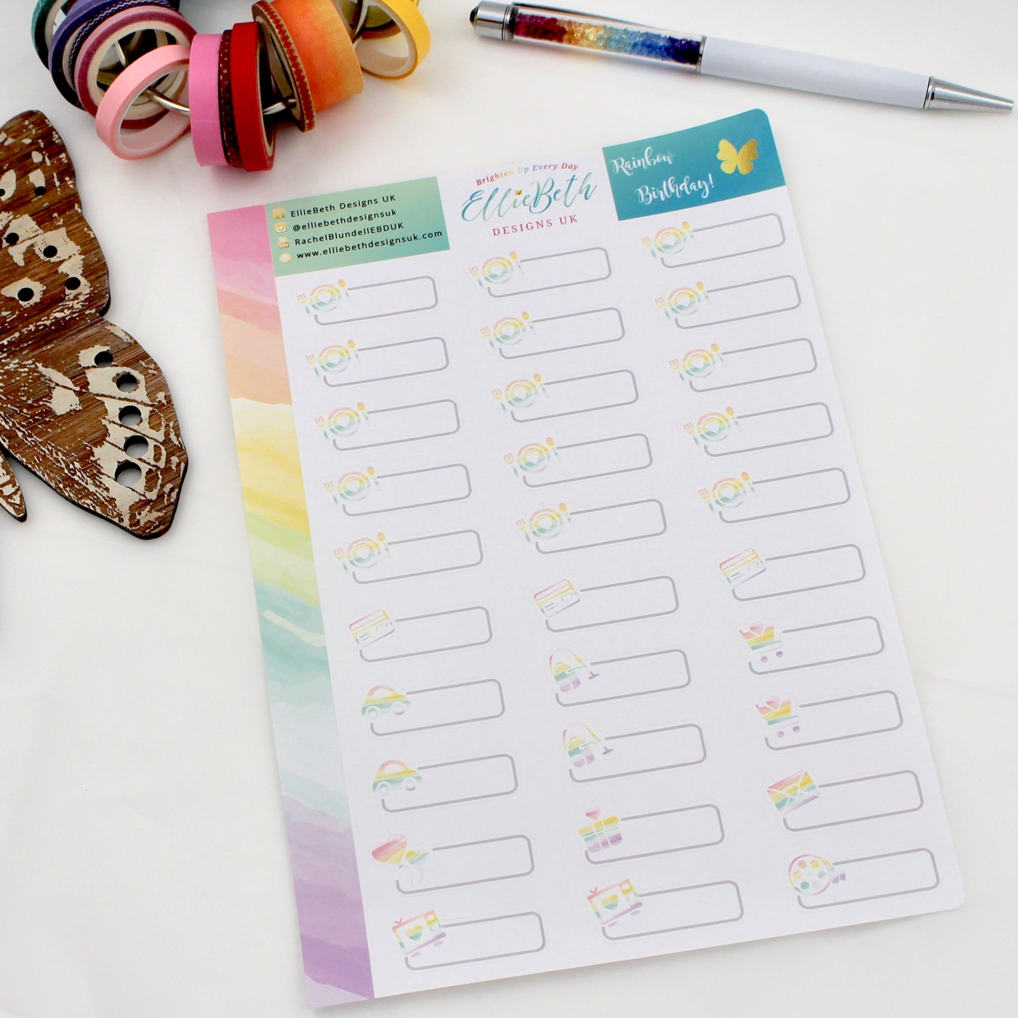 'Rainbow Birthday' - Day to Day Labels -  A5 binder ready planner stickers - EllieBeth Designs UK