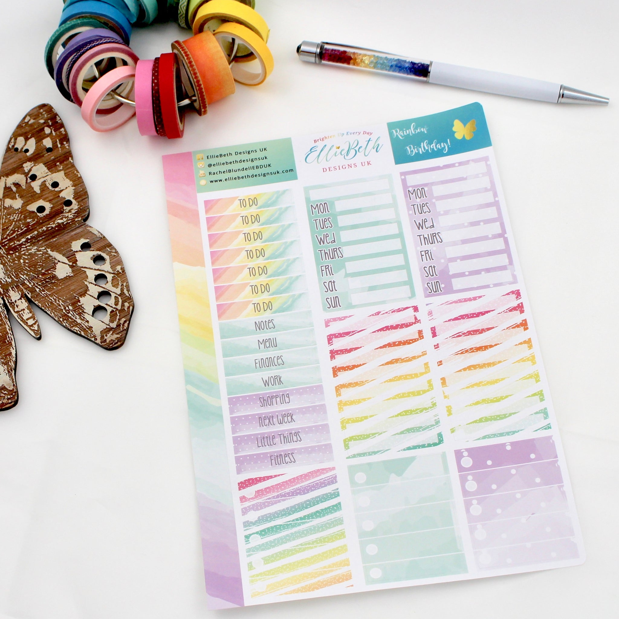 'Rainbow Birthday' - Make a List Sheet -  A5 binder ready planner stickers