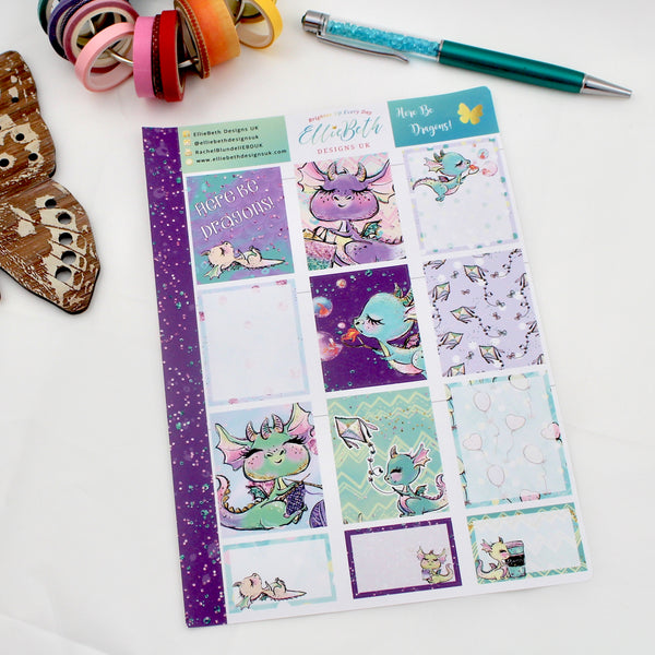 'Here Be Dragons' - Designer Full and Half Boxes Sheet -  A5 binder ready planner stickers
