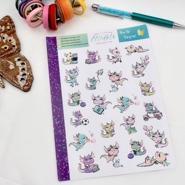 'Here Be Dragons' - Decorative Sheet -  A5 binder ready planner stickers