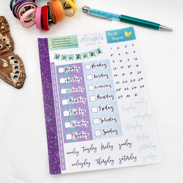 'Here Be Dragons' - Days and Dates -  A5 binder ready planner stickers