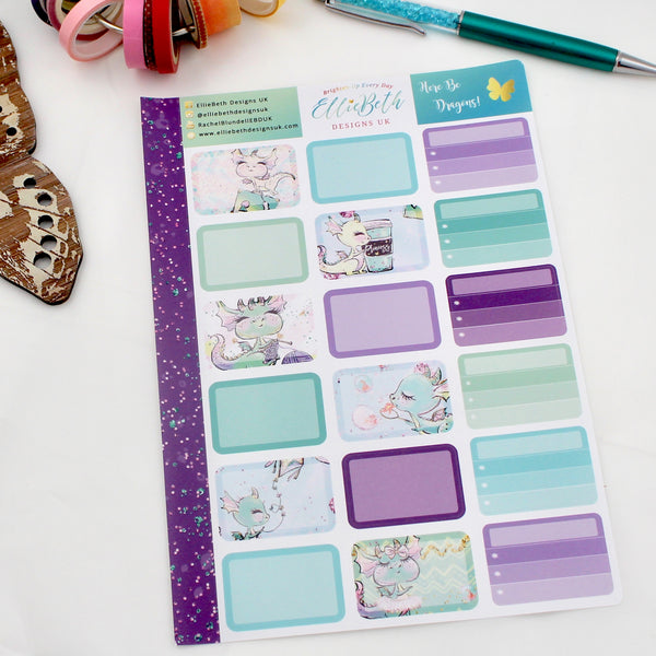 'Here Be Dragons' - Half Boxes -  A5 binder ready planner stickers