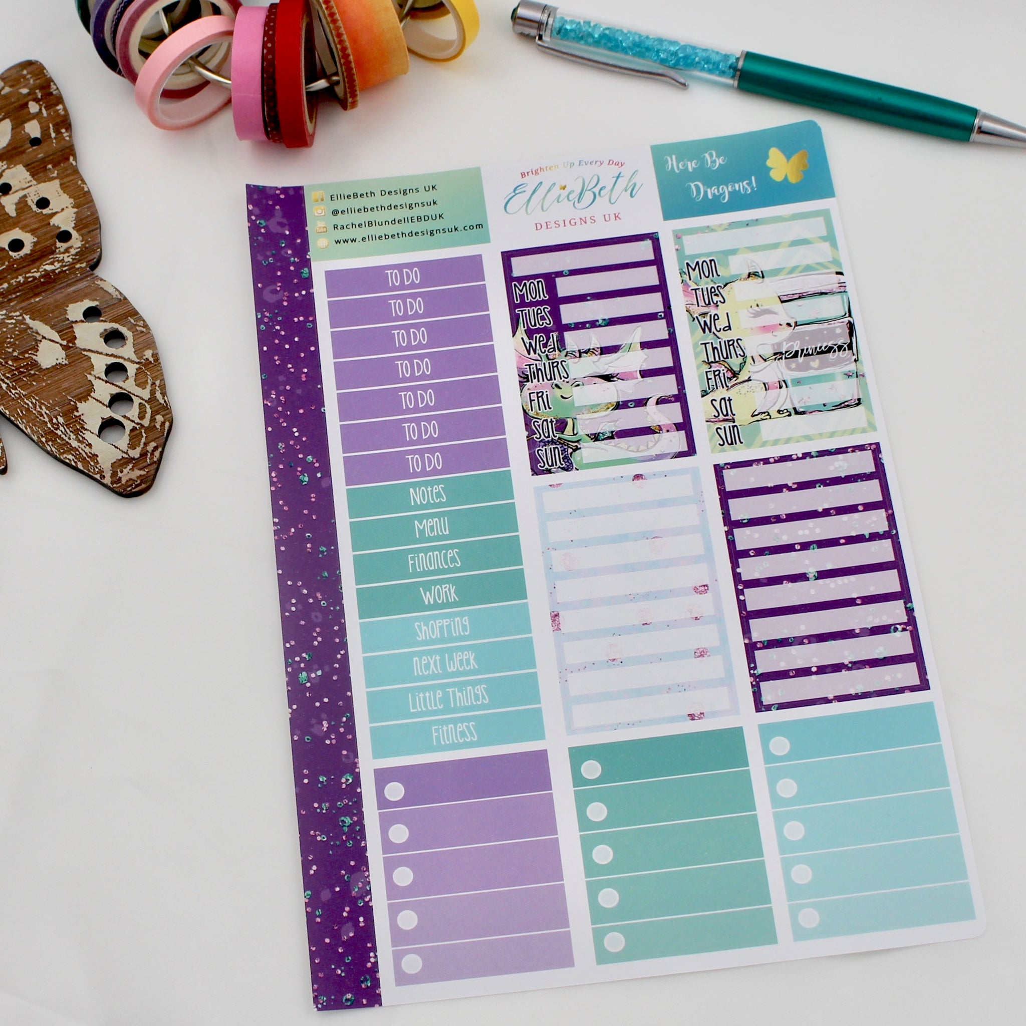 'Here Be Dragons' - Make a List Sheet -  A5 binder ready planner stickers
