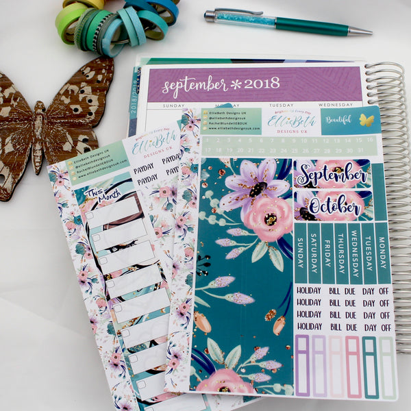'Beautiful' - Monthly View Kit -  A5 binder ready planner stickers