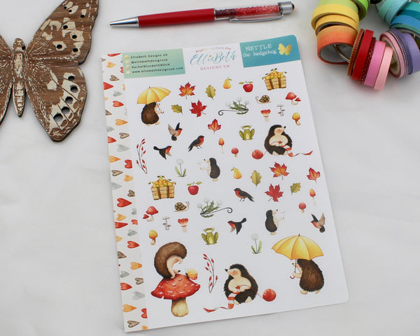 'Nettle the Hedgehog' - Decorative Sheet -  A5 binder ready planner stickers