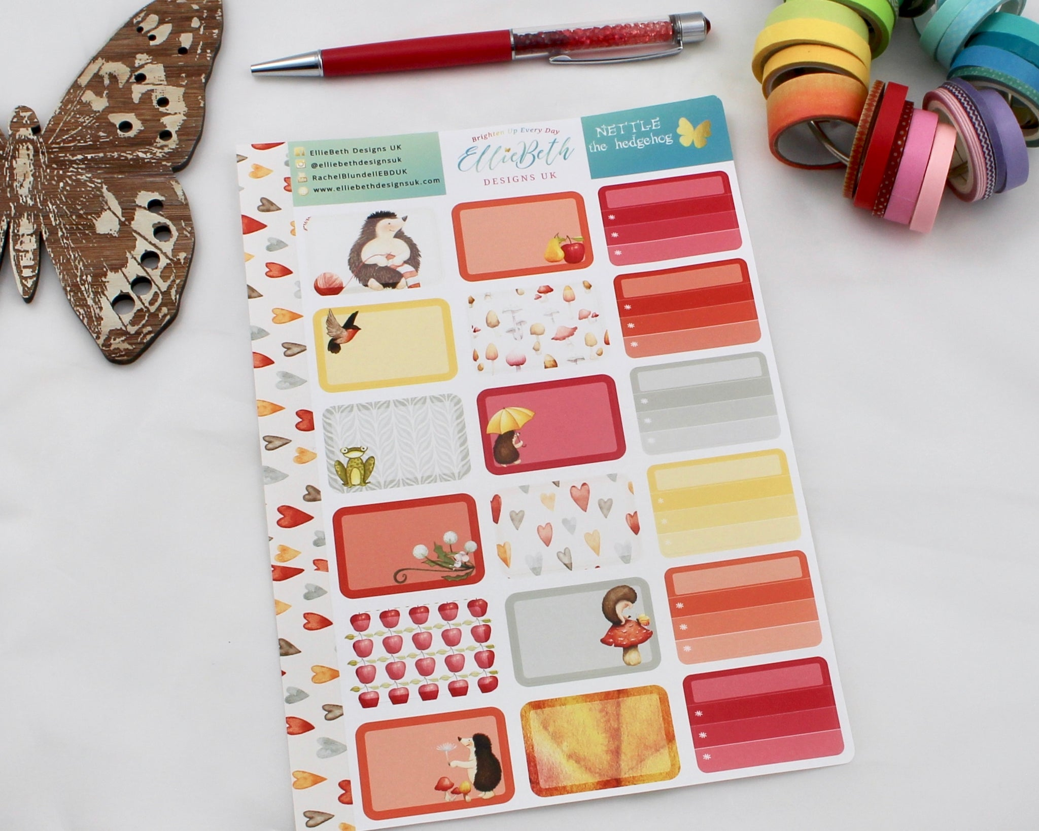 'Nettle the Hedgehog' - Half Boxes -  A5 binder ready planner stickers