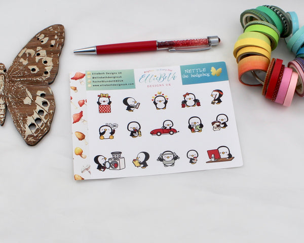 'Nettle the Hedgehog' - A Penguin For Every Occasion -  binder ready planner stickers - EllieBeth Designs UK