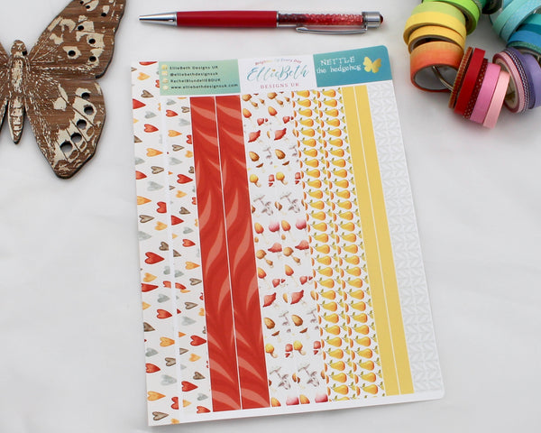 'Nettle the Hedgehog'  Washi Strips -  A5 binder ready planner stickers