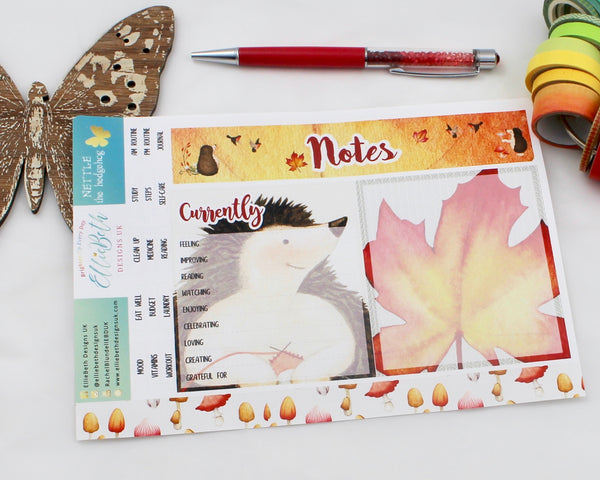 'Nettle the Hedgehog' - Notes Page Kit -  A5 binder ready planner stickers - EllieBeth Designs UK