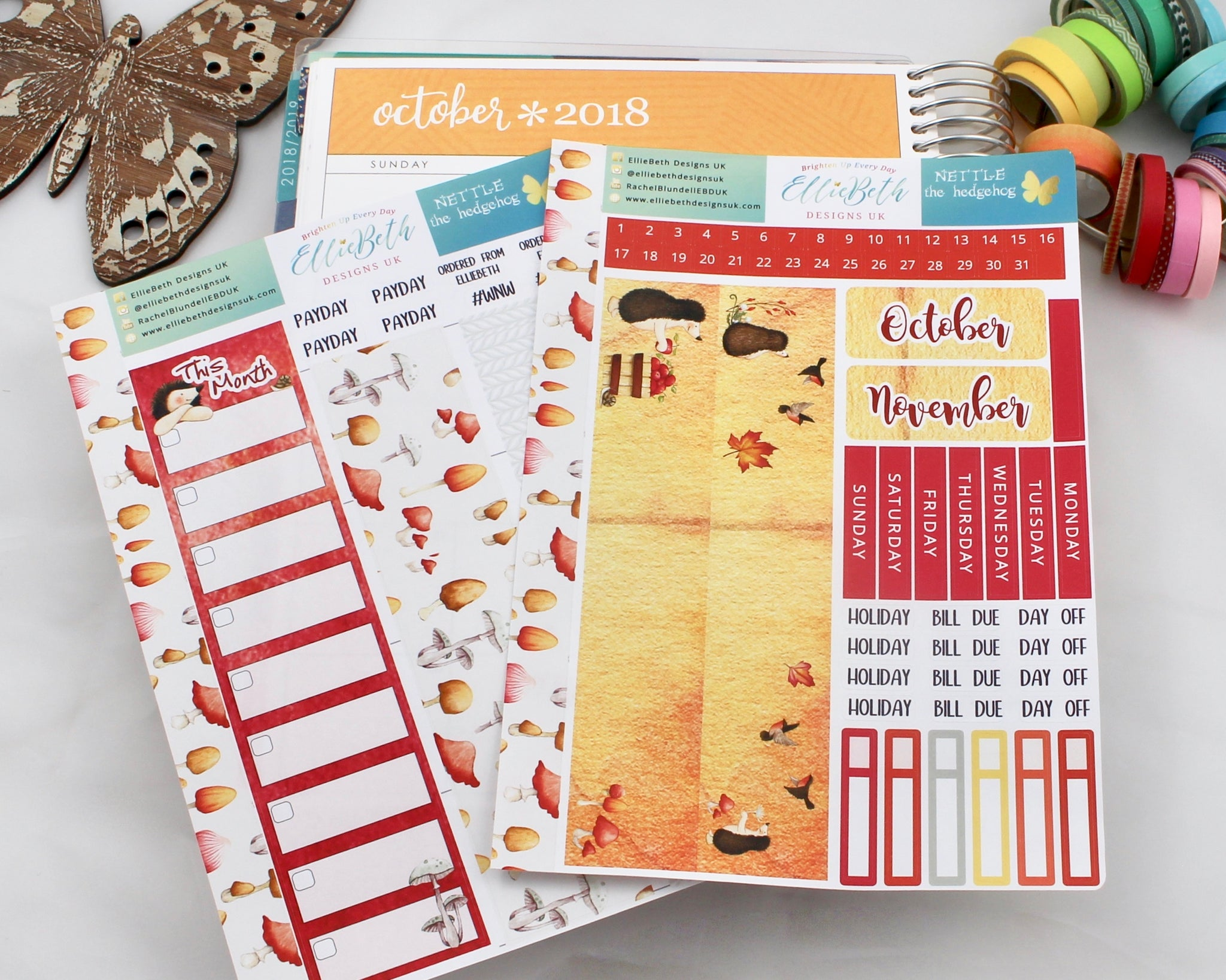 'Nettle the Hedgehog' - Monthly View Kit -  A5 binder ready planner stickers