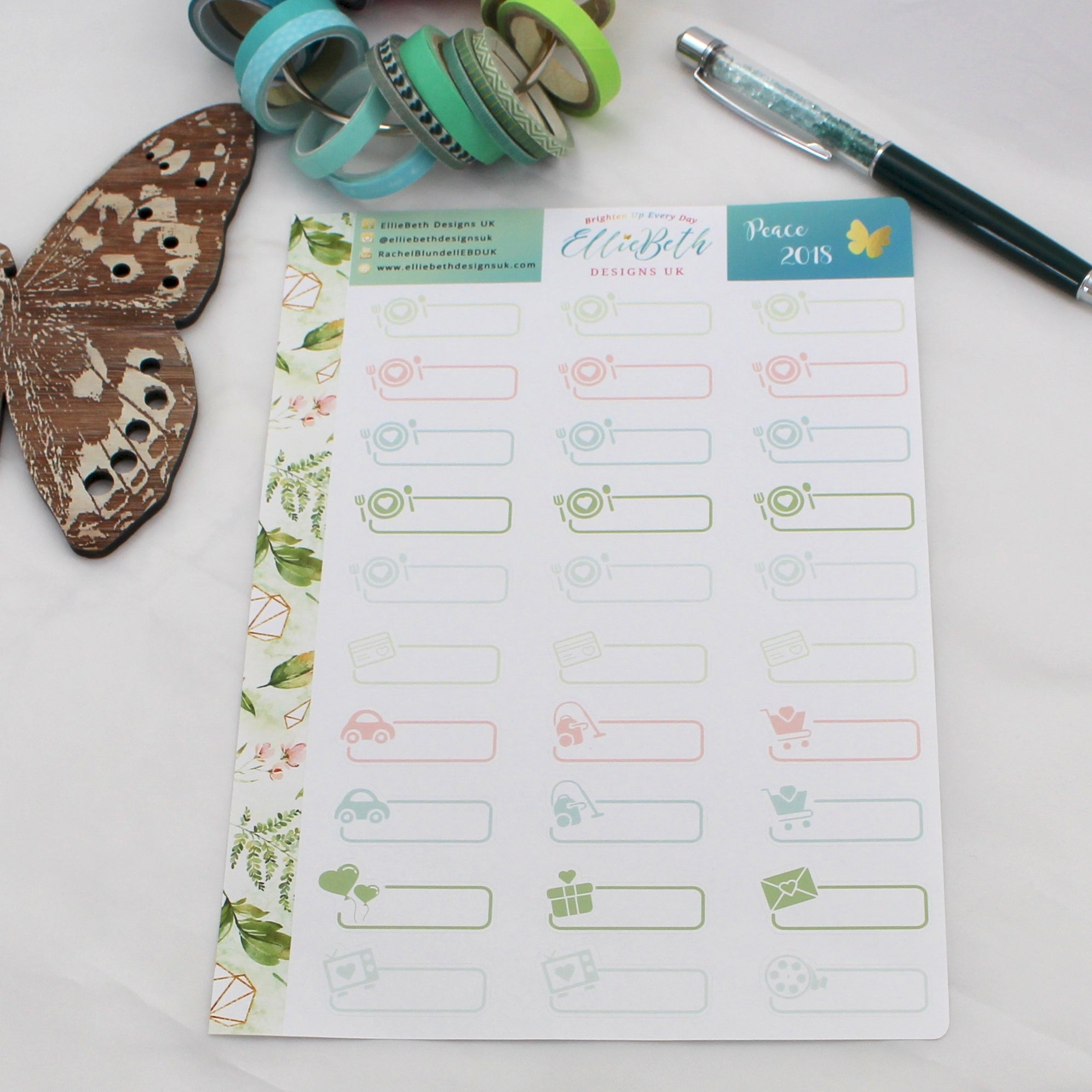 'Peace 2018' - Day to Day Labels -  A5 binder ready planner stickers - EllieBeth Designs UK