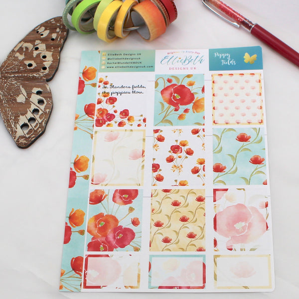 'Poppy Fields' - Designer Full and Half Boxes Sheet -  A5 binder ready planner stickers