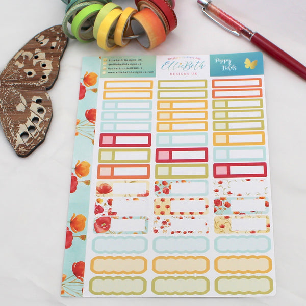 'Poppy Fields'- Mixed Event Labels -  A5 binder ready planner stickers