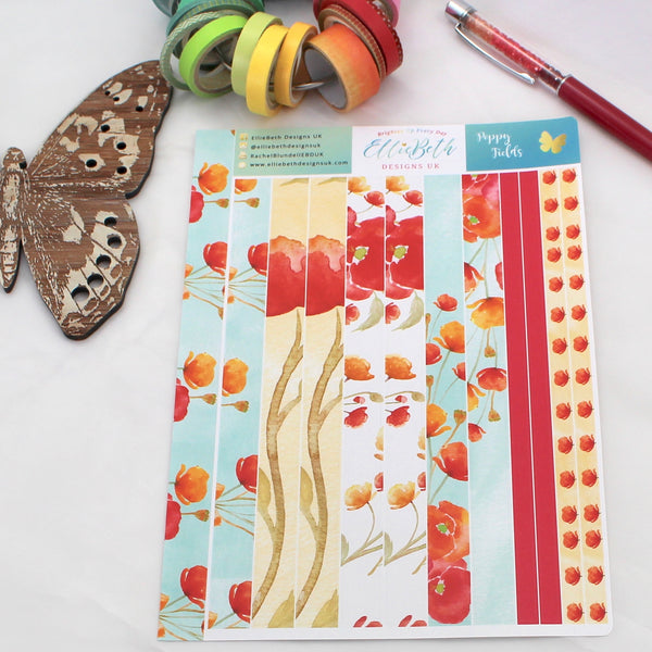 'Poppy Fields' - Washi Strips -  A5 binder ready planner stickers