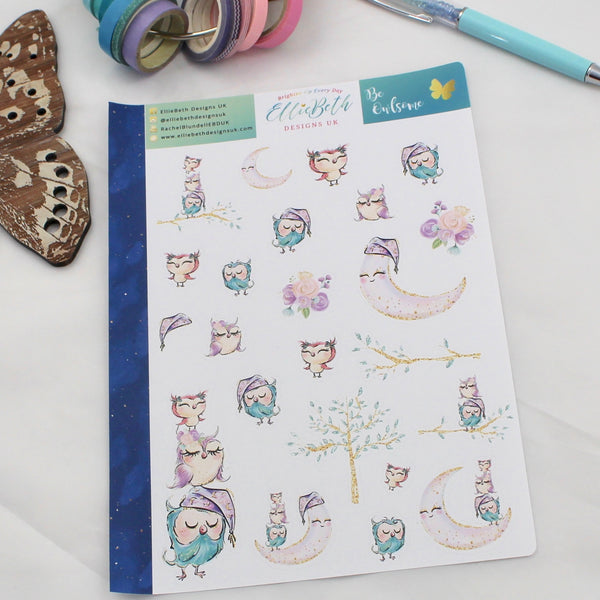 'Be Owlsome' - Decorative Sheet -  A5 binder ready planner stickers