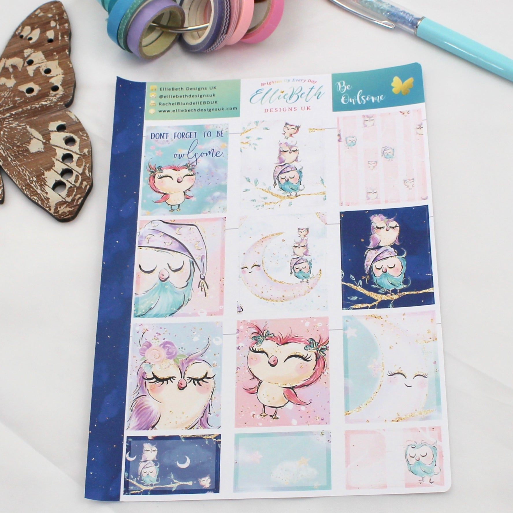 'Be Owlsome' - Designer Full and Half Boxes Sheet -  A5 binder ready planner stickers