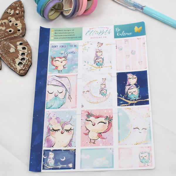 'Be Owlsome' - Designer Full and Half Boxes Sheet -  A5 binder ready planner stickers - EllieBeth Designs UK