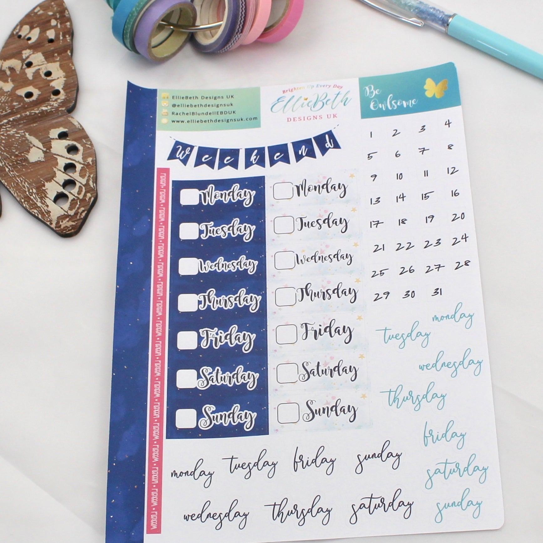 'Be Owlsome' - Days and Dates -  A5 binder ready planner stickers - EllieBeth Designs UK