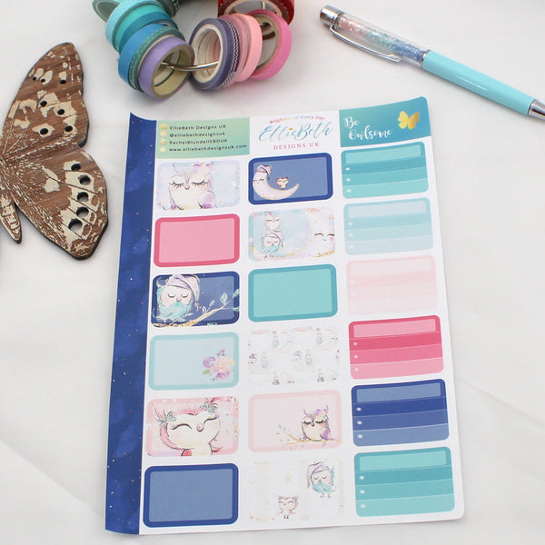 'Be Owlsome' - Half Boxes -  A5 binder ready planner stickers
