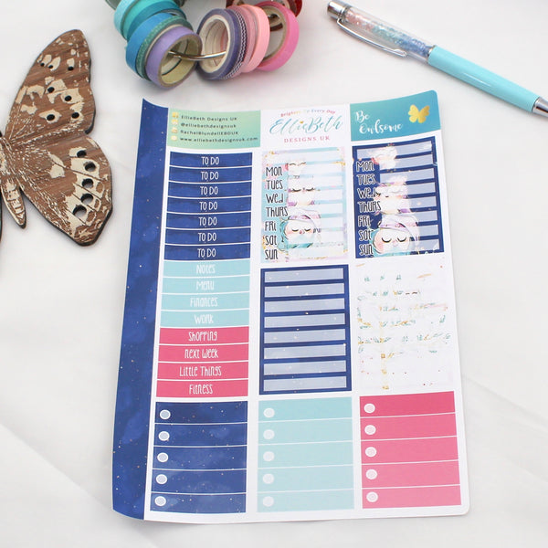 'Be Owlsome' - Make a List Sheet -  A5 binder ready planner stickers
