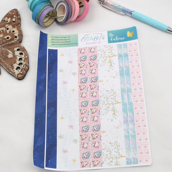 'Be Owlsome' - Washi Strips -  A5 binder ready planner stickers