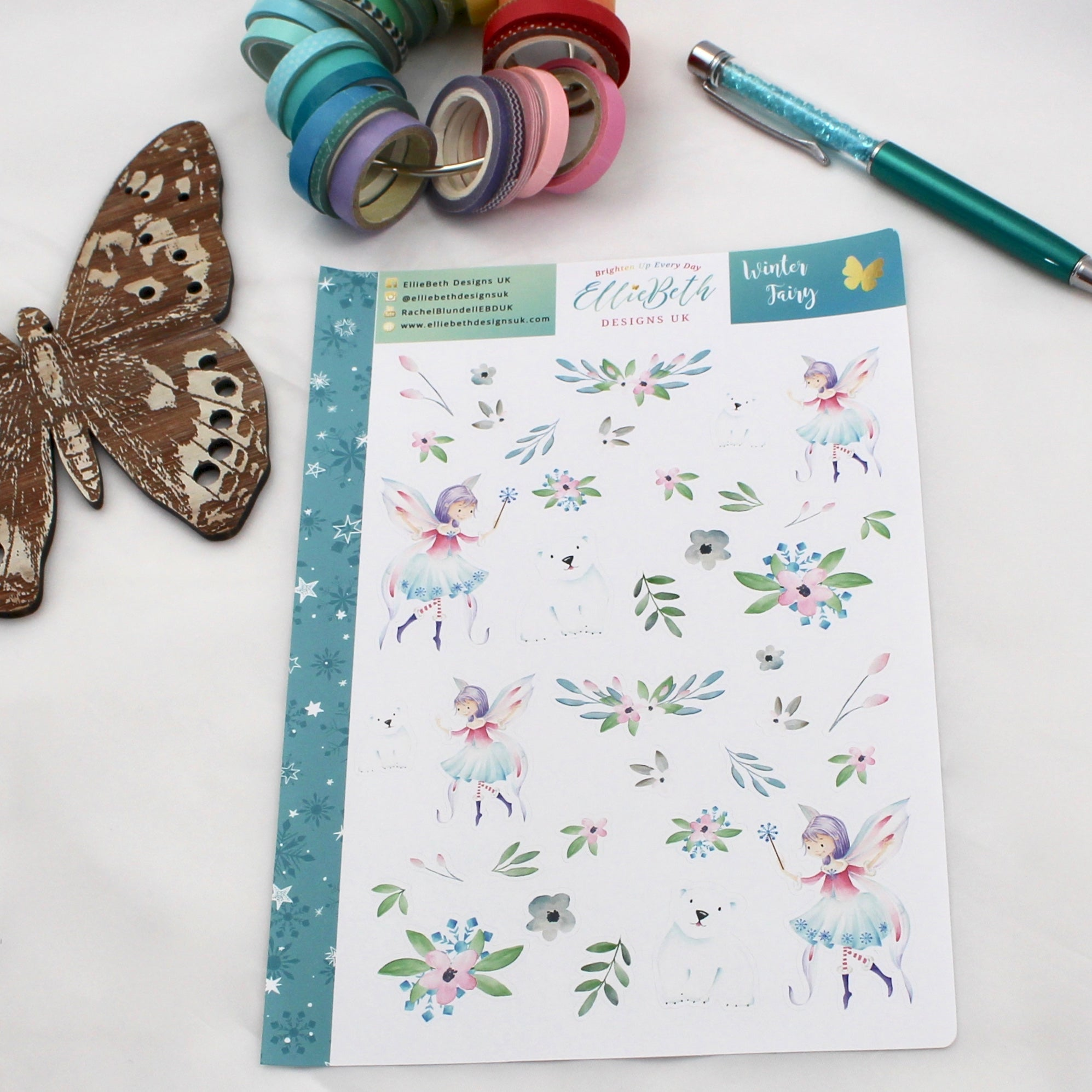 'Winter Fairy' - Decorative Sheet -  A5 binder ready planner stickers