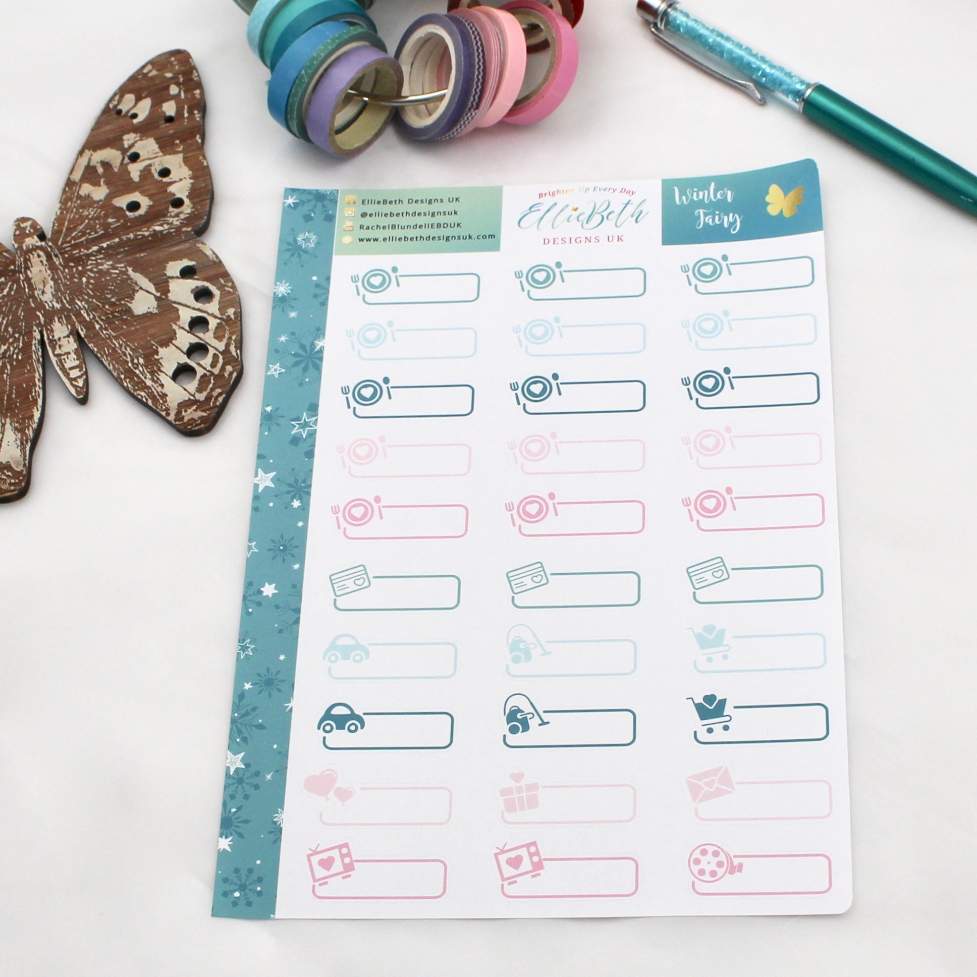 'Winter Fairy' - Day to Day Labels -  A5 binder ready planner stickers