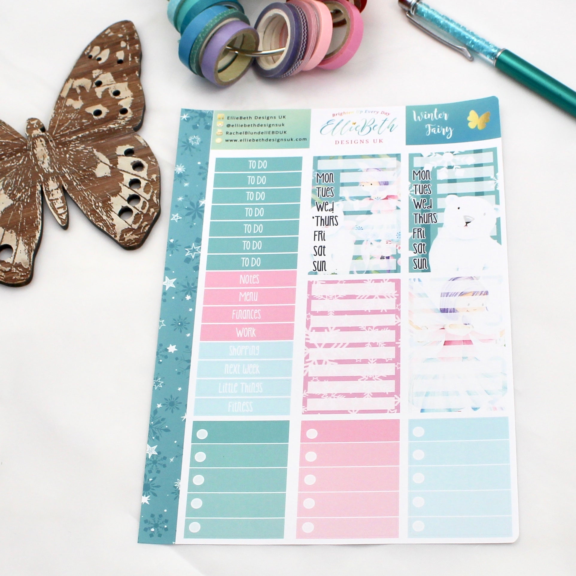 'Winter Fairy' - Make a List Sheet -  A5 binder ready planner stickers