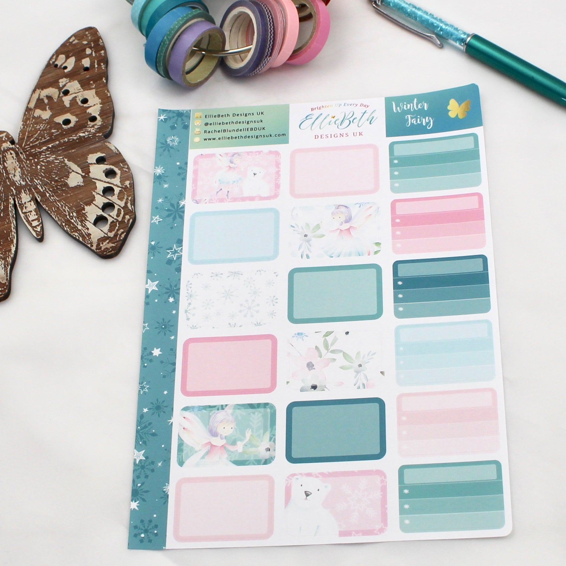'Winter Fairy' - Half Boxes -  A5 binder ready planner stickers