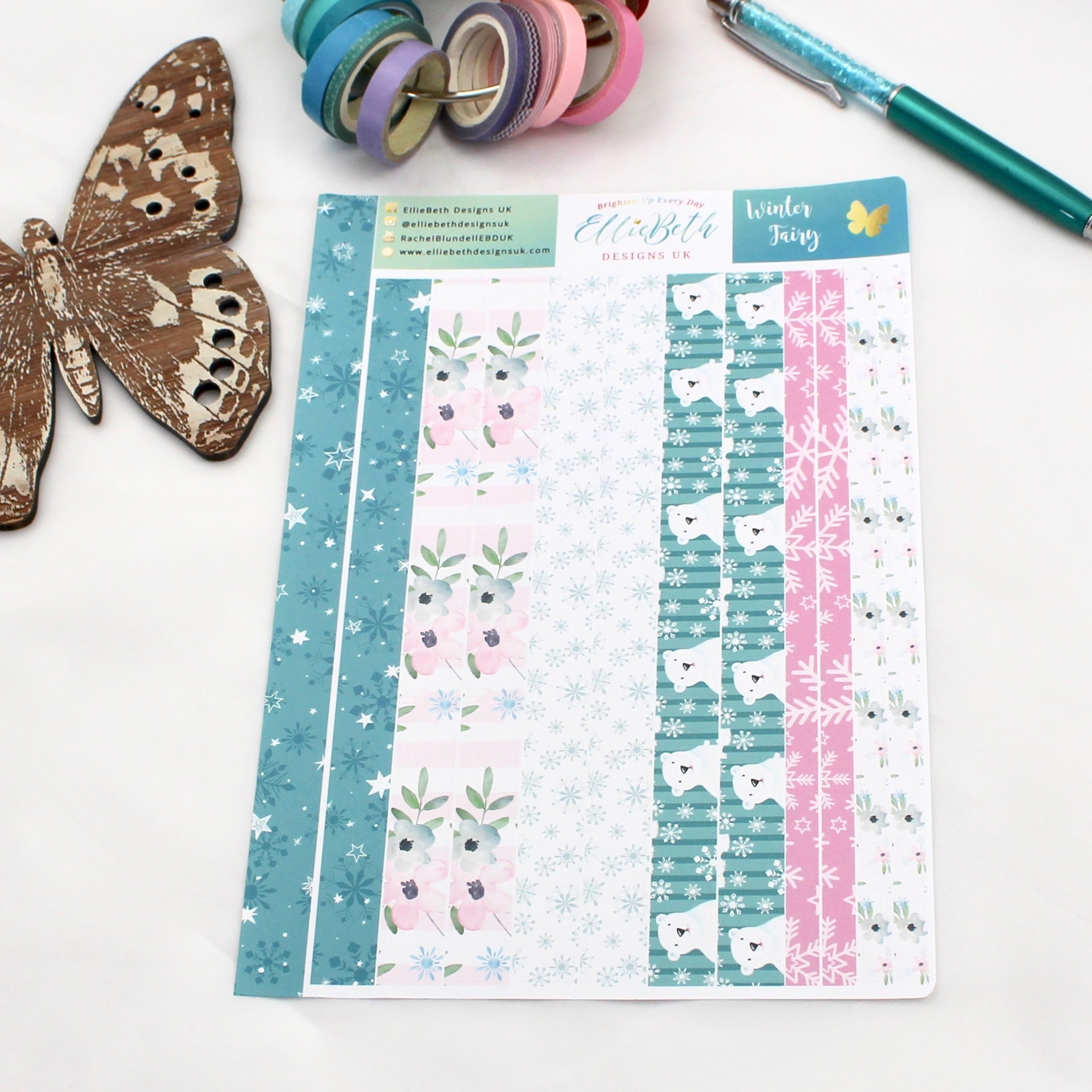 'Winter Fairy' - Washi Strips -  A5 binder ready planner stickers