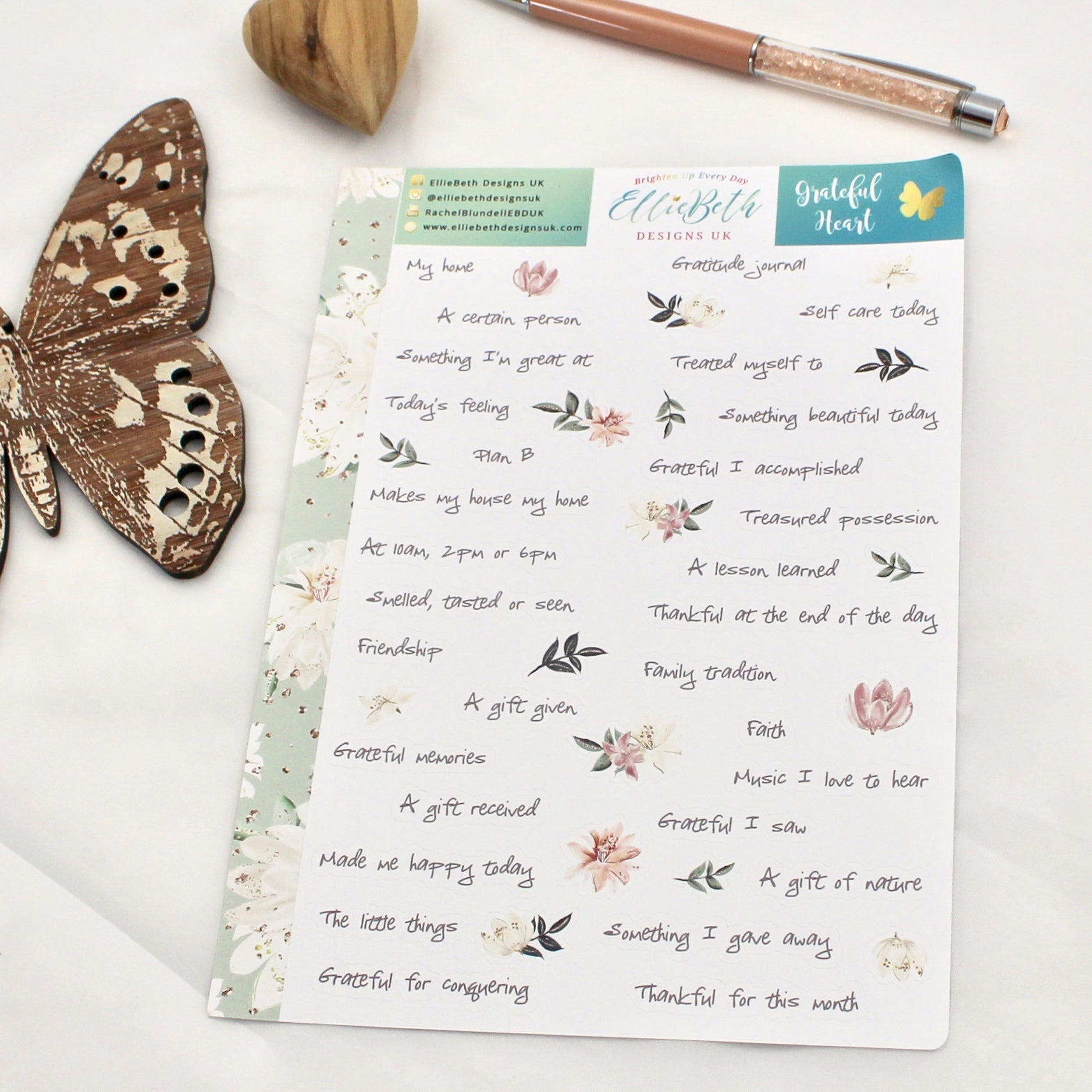 Grateful Heart' - Gratitude Prompts -  A5 binder ready planner stickers