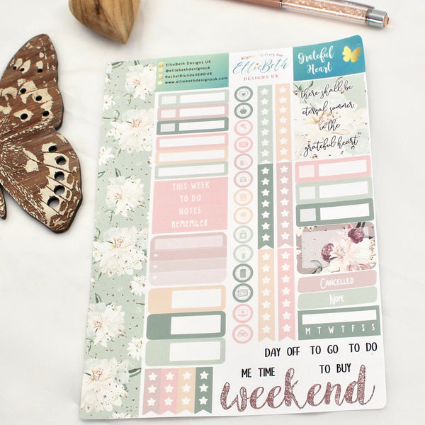 'Grateful Heart' - Core Sheet -  A5 binder ready planner stickers