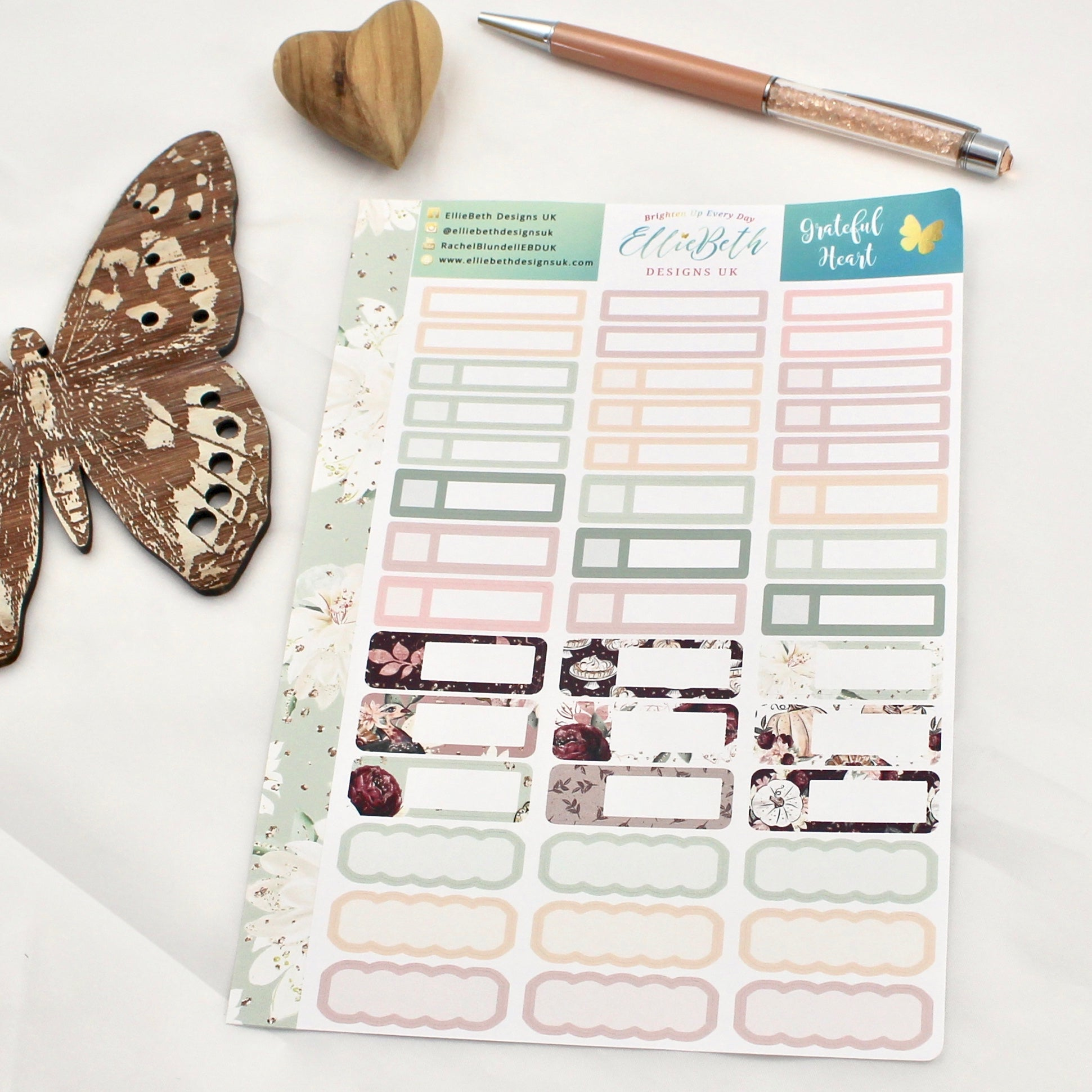 'Grateful Heart' -  Mixed Event Labels -  A5 binder ready planner stickers