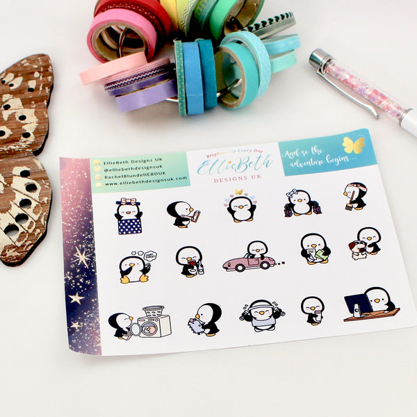 'And so the Adventure Begins' - A Penguin For Every Occasion -  binder ready planner stickers
