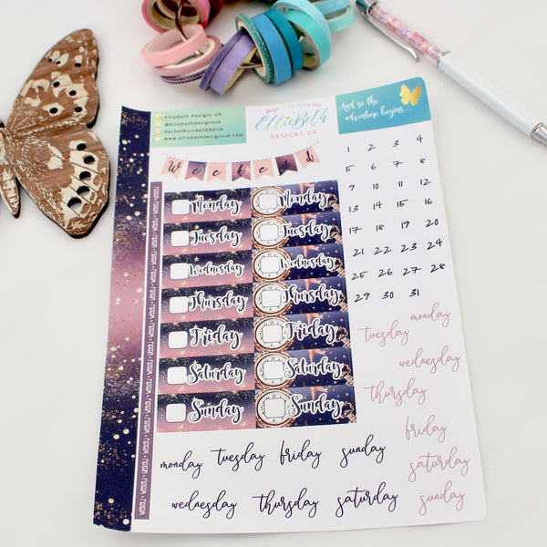 'And so the Adventure Begins' - Days and Dates -  A5 binder ready planner stickers
