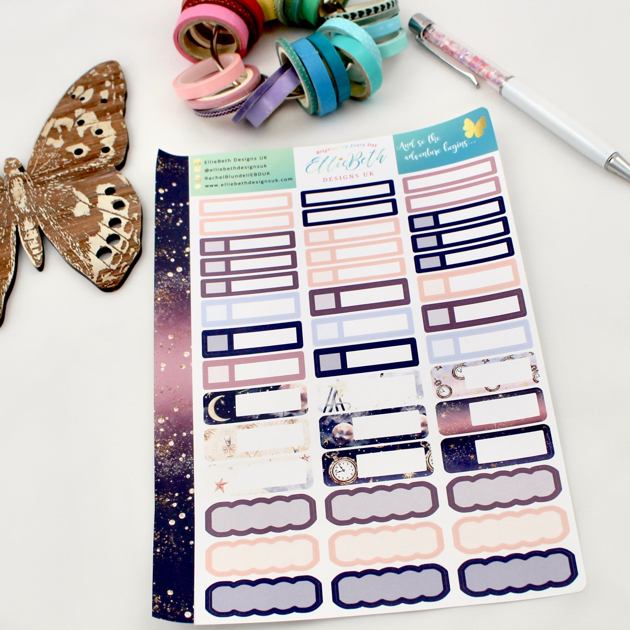 'And so the Adventure Begins' - Mixed Event Labels -  A5 binder ready planner stickers