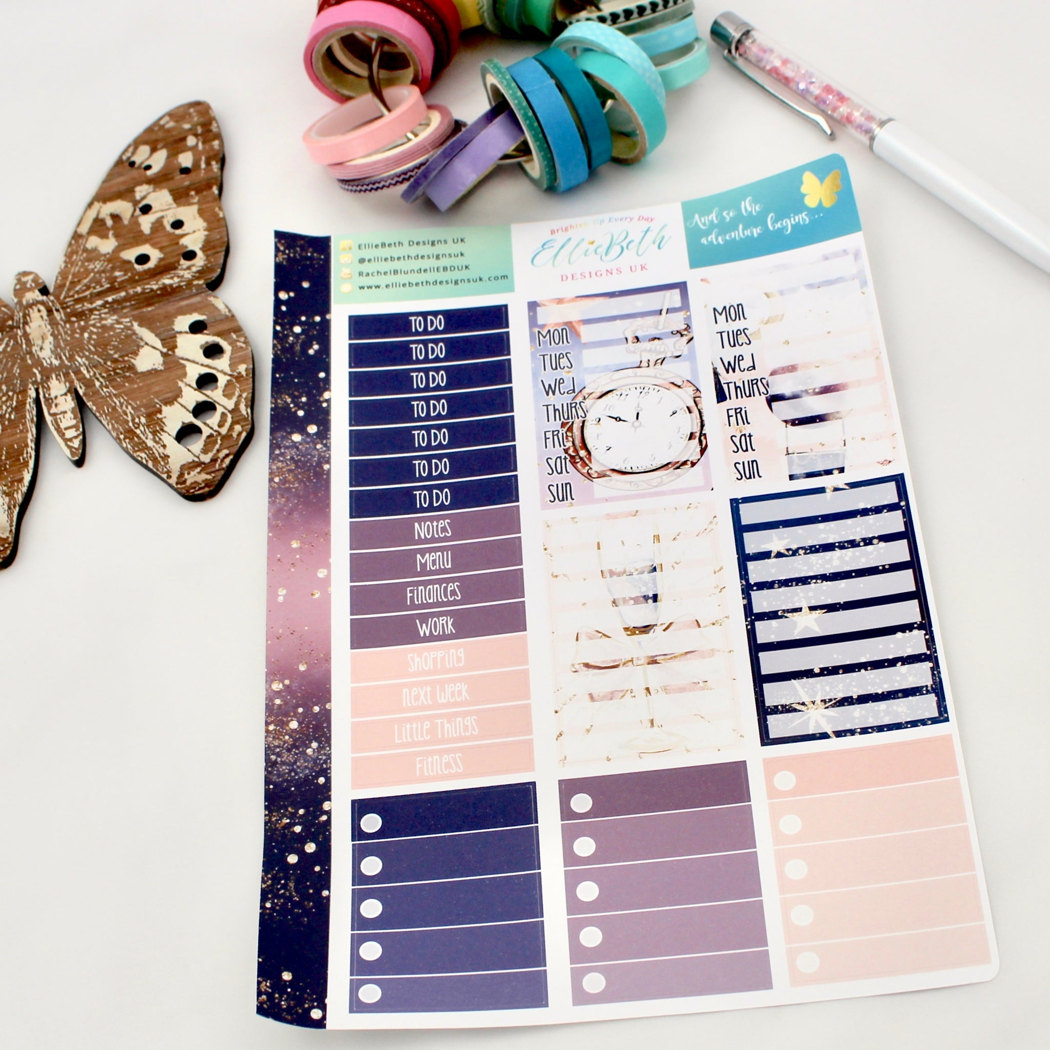 'And so the Adventure Begins' - Make a List Sheet -  A5 binder ready planner stickers