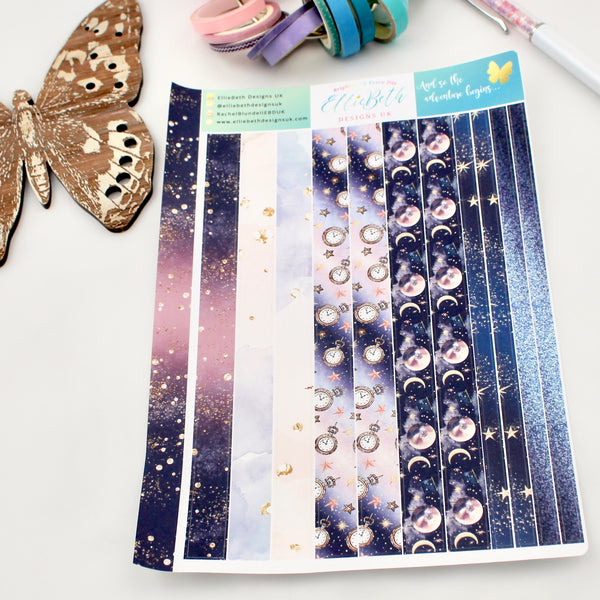 'And so the Adventure Begins'- Washi Strips -  A5 binder ready planner stickers