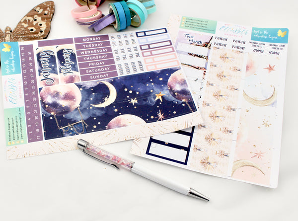 'And so the Adventure Begins' - Monthly View Kit -  A5 binder ready planner stickers