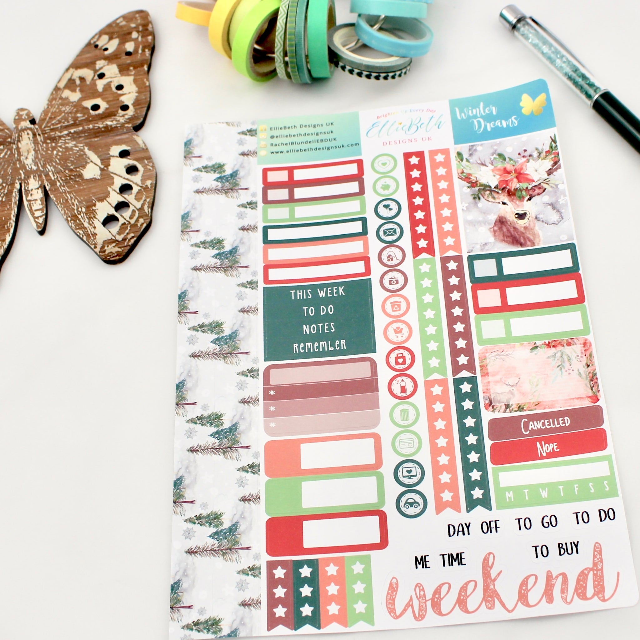'Winter Dreams' - Core Sheet -  A5 binder ready planner stickers