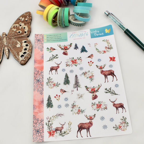 'Winter Dreams' - Decorative Sheet -  A5 binder ready planner stickers