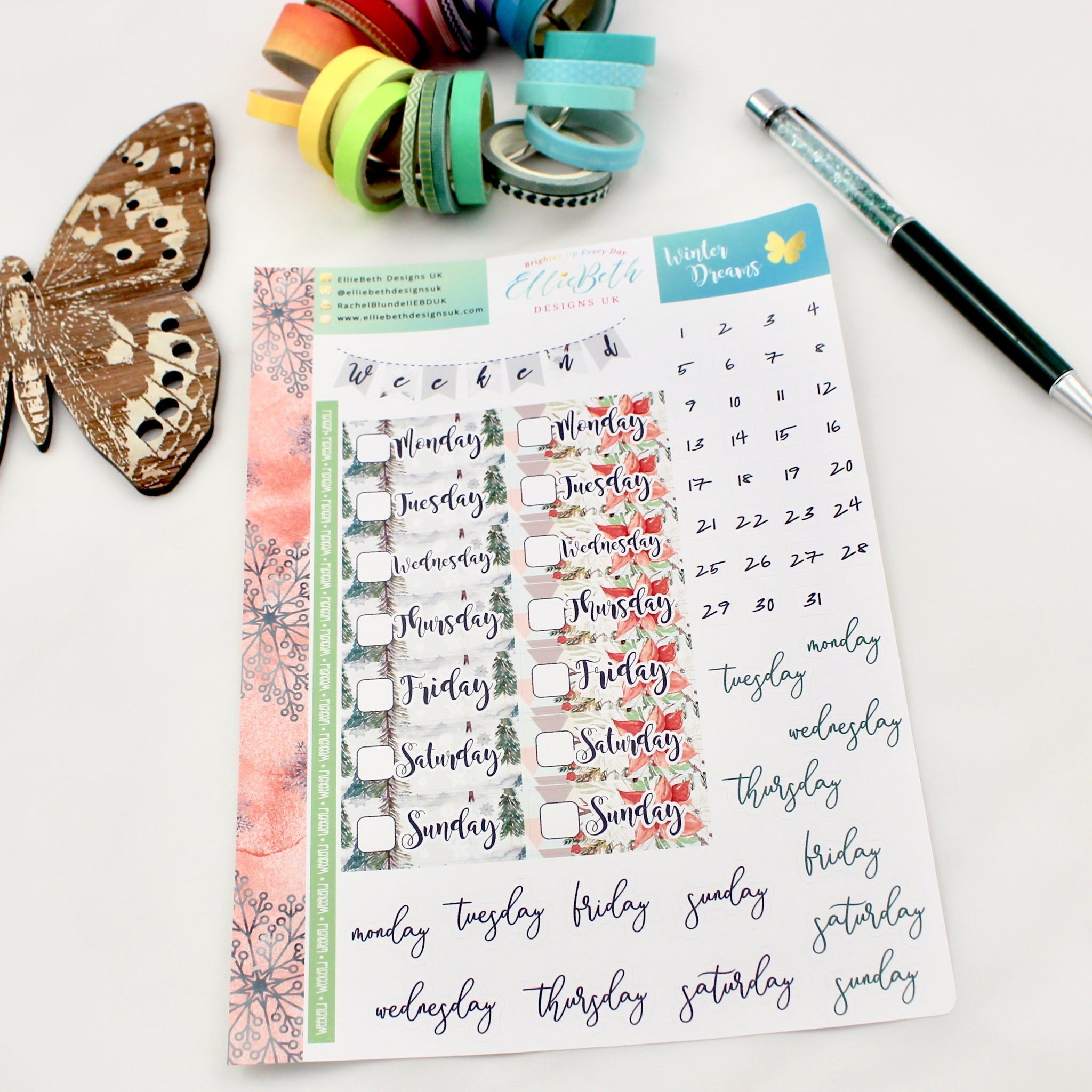 'Winter Dreams' - Days and Dates -  A5 binder ready planner stickers