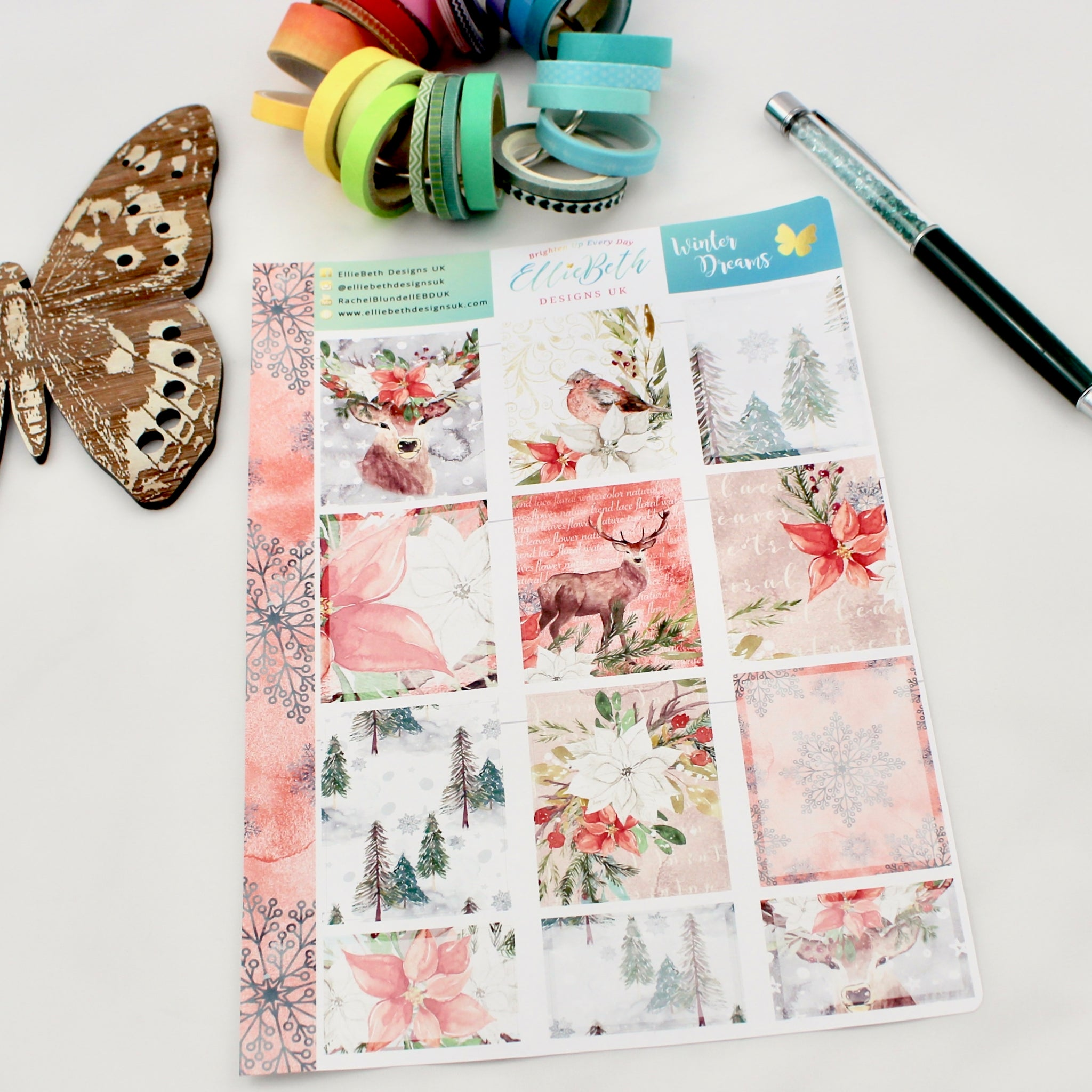 'Winter Dreams' - Designer Full and Half Boxes Sheet - A5 binder ready planner stickers