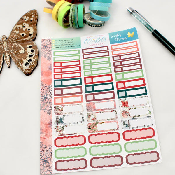 'Winter Dreams' - Mixed Event Labels -  A5 binder ready planner stickers